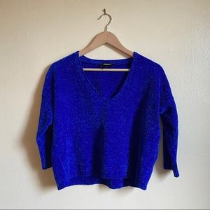 Express Royal Blue Chenille Cropped V-Neck Sweater